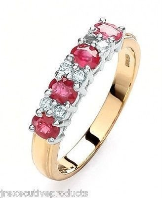 J R Jewellery 441557 Yellow Gold 4mm Real Ruby & Diamond Eternity Ring