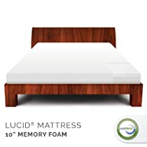 "Hot Sale LUCID by LinenSpa 10"" Memory Foam Firm Viscoelastic Mattress 25-Year Warranty, Full"