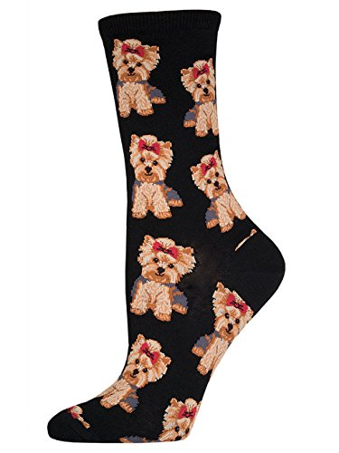 Socksmith Women's Yorkies Crew Socks, Black, Medium