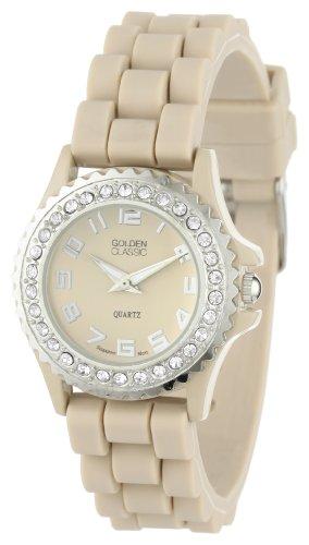 Golden Classic Women's 2218-beige Chic Jelly Rhinestone Petite Beige Silicone Watch