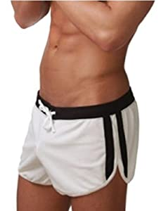 Demarkt® Maillot de bain/ Boxer Trunks Shorts/ Pantalon Court de Sport/ Short de bain pour Hommes - Blanc - Taille S/M/L (S)
