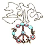 niceEshop(TM) Vintage Pearl Beads Rhinestone Peace Sign Symbol Chain Pendant Necklace-Bronze