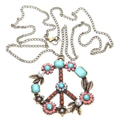 Niceeshop(Tm) Pearl Beads Rhinestone Peace Sign Symbol Chain Pendant Necklace,Bronze