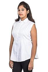 Juee Women's Sleeveless White Top (JU109SY9SLWHT) (Medium)