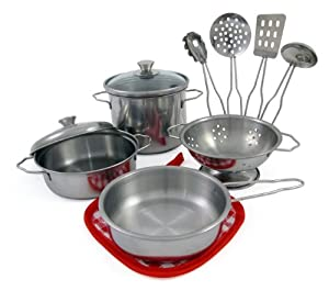 Metal Pots and Pans Kitchen Cookware Playset for Kids with Cooking ...