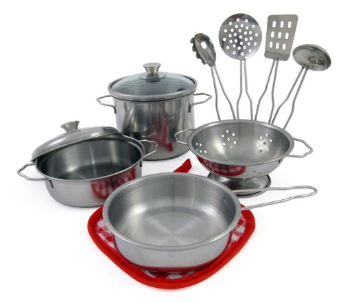 Liberty Imports Metal Pots and Pans Kitchen Cookware Playset for Kids with Cooking Utensils Set (Children Pot And Pans compare prices)
