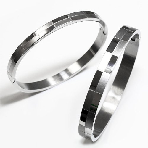 RieZ check pattern design type 316 L stainless steel ペアバングル (set of 2) SGBN-330-L-S