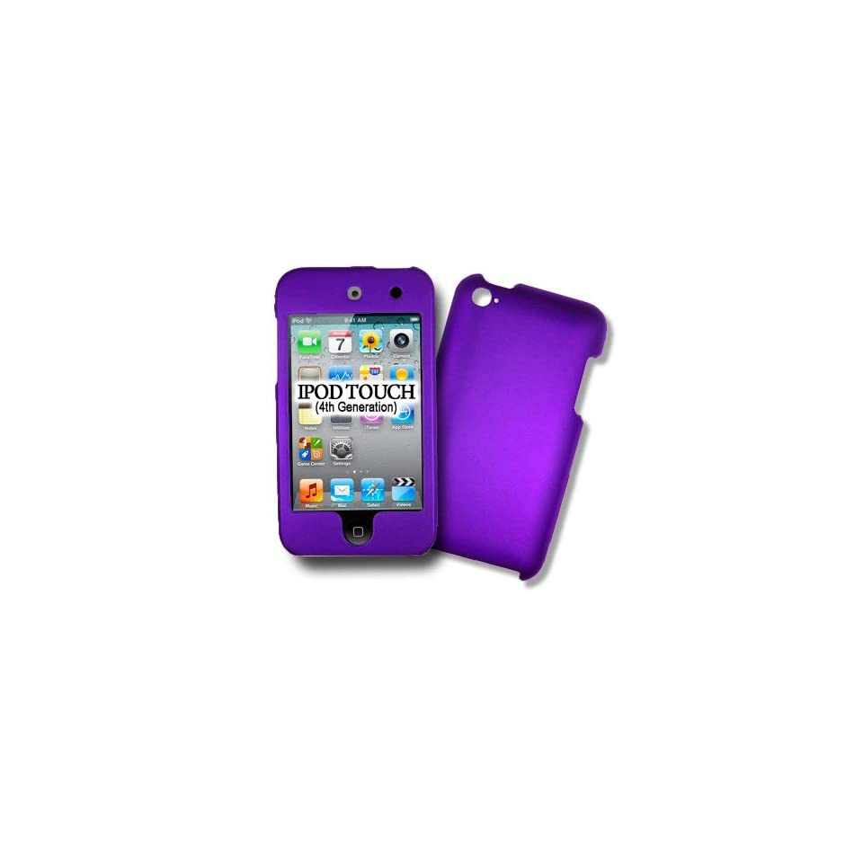 iPod Touch 4G, 4Th Generations PURPLE Hard Case, Protector Cover, Rubber Feel Snap on Faceplate Housing