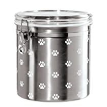 Oggi 8301 Stainless Steel Airtight Paws Print Pet Treat Canister