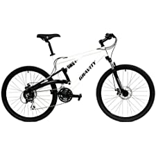 NEW IN BOX Gravity FSX 1.0 Dual Full Suspension Mountain Bike Shimano Acera 24 Speed Bicycle (White, Medium 19 inch)