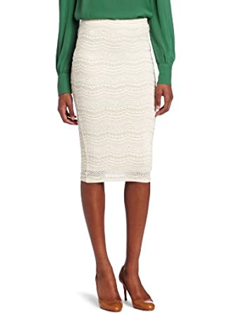 Willow & Clay Women's Lace Pencil Skirt, Vanilla, Small