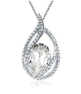 Celebrity Jewellery Swarovski Elements Glass Crystal Water Drop Shaped Pendant Necklace for Women