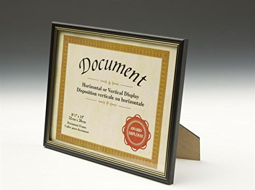 Set of 4, Document Frames for 8.5x11 Prints, Wall-Mounted or Tabletop Diploma Holders - Black with Gold Trim, Wood