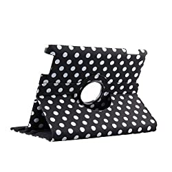 Generic 360 Degrees Rotating Black and White Polka Dot Pattern PU Leather Case for iPad 2/3/4