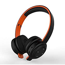 Jabees Foldable/ Retractable Bluetooth Wireless Stereo On-Ear Lightweight Headphones with Mic 3.5mm Audio Line-in Deep bass and crystal clear professional Audio quality (Black Orange)