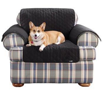Sure Fit Cotton Duck Chair Pet Throw, Black front-661652