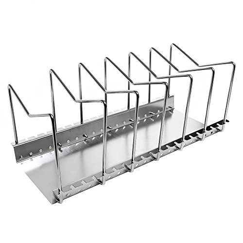 KES Stainless Steel Dish Rack Kitchen Pot Pan Lid Cutting Board Adjustable Organizer Holder with Drain Tray for Cabinet and Pantry Storage Organization, 6 Compartments, KLR201 (Lid Holder For Crock Pot compare prices)