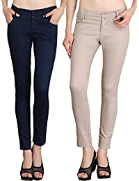 NGT Womens Formal Beige And Navy Blue Trouser In Special Quality.