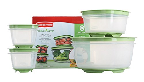 Rubbermaid 7J93 Produce Saver Square Food Storage Containers Set of 8 (Refrigerator Fruit Storage compare prices)