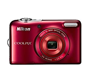 Nikon COOLPIX L30 20.1 MP Digital Camera with 5x Zoom NIKKOR Lens and 720p HD Video (Red)
