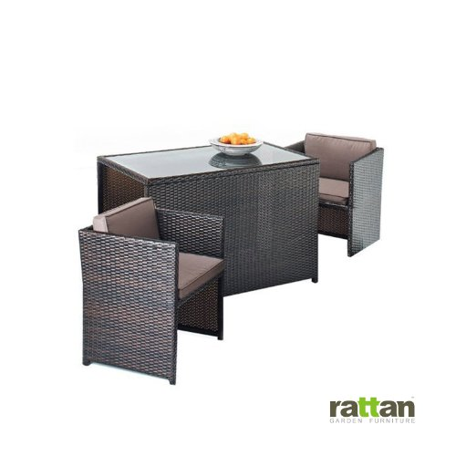 Rattan Cube Dining Garden Furniture 2 Seater Set in Brown