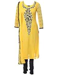 Azra Jamil Indian Georgette Yellow Chir (Beads) And Sequined Hand Work Traditional Churidar Suit For Women