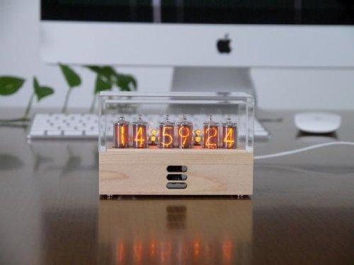 ニキシー管時計V2 完成品 メープル木製ケース アクリルカバー付き