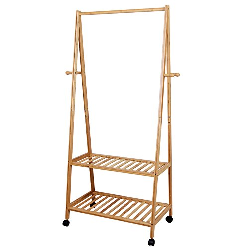 SONGMICS Multifuctional Bamboo Garment Laundry Rack with 4 Coat Hooks 2-tier Shoe Clothes Storage Shelves URCR52N (Round Garment Rack compare prices)