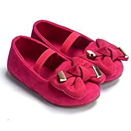 Voberry® Baby First Walker/toddler Ladybugs Mary Jane Suede Shoes (18~24 Month, Hot Pink)