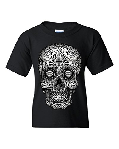 Sugar Skull black & white Youth's T-Shirt Day of Dead Shirts