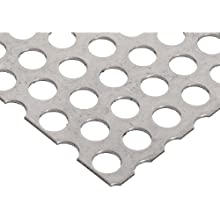 "304 Stainless Steel Perforated Sheet, Unpolished (Mill) Finish, Annealed, Staggered 0.5"" Holes, 0.06"" Thickness, 17 Gauge, 12"" Width, 48"" Length, 0.6875"" Center to Center"