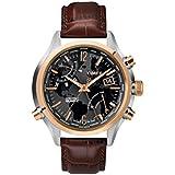[タイメックス]TIMEX 腕時計 T2N942 インテリジェントクォーツ ワールドタイム コンビケース ブラックダイアル ブラウンレザー メンズ