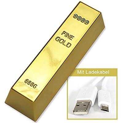 POWERBANK Ladegerät Goldbarren - 2600mAh Tragbarer Ersatzakkupack für Smartphone und Tablet - von Geschenke mit Namen