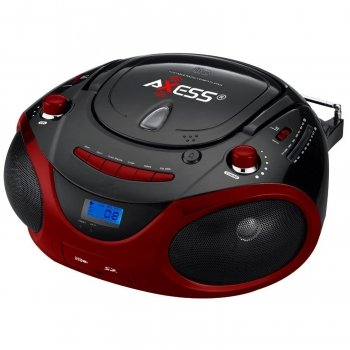 Axess Pb2703 Red Portable Boombox Mp3/Cd Player With Text Display,With Am/Fm Stereo, Usb/Sd/Mmc/Aux Inputs