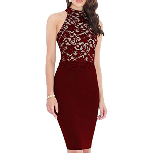 WOOSEA® Women's Elegant Sleeveless Floral Lace Vintage Midi Cocktail Party Dress ( Medium , Burgundy)