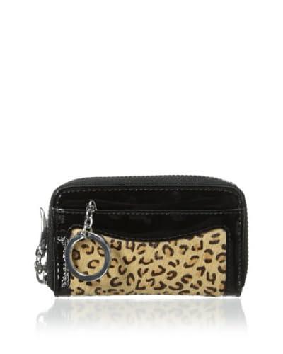 Tusk Women's Montparnasse Zip Coin/Card/Key Wallet, Leopard Sand/Black/Black