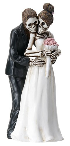 6.25 Inch Skeleton Couple with Wedding Bouquet - Posing Figurine