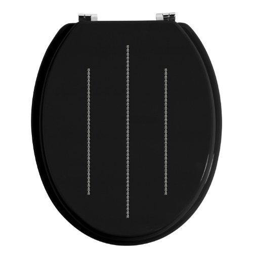 Stylish & Versatile Design Diamante Toilet Seat Black- Ideal For Family Bathroom