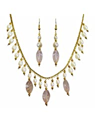 Nisa Pearls White Crystal Danglers Necklace For Women