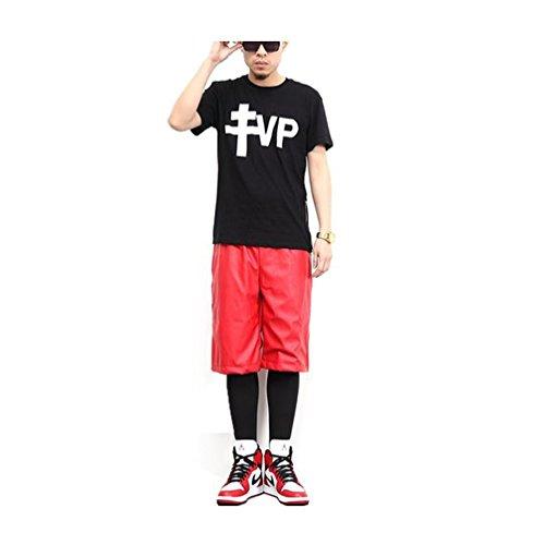 Pizoff Pantaloncini maschili in pelle sintetica Y0545-r---XL