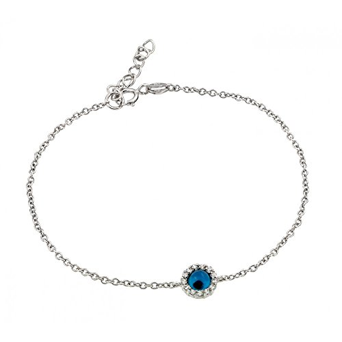 Sterling Silver CZ Cubic Zirconia Evil Eye Bracelets For Children & Women 7 + 1 Extension