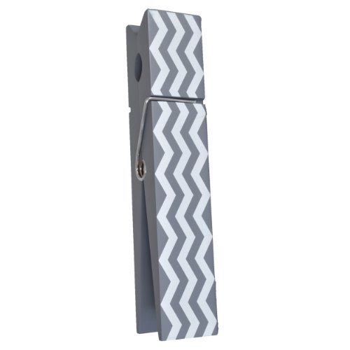 """10"""" Jumbo Wooden Message Clip / Large Clothes Pin Style (Grey/White)"""