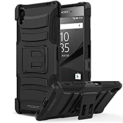 Sony Xperia Z5 Case - MoKo [Heavy Duty] Full Body Rugged Holster Cover with Swivel Belt Clip - Dual Layer Shock Resistant for Sony Xperia Z5 5.2 Inch Smartphone 2015 Edition, BLACK