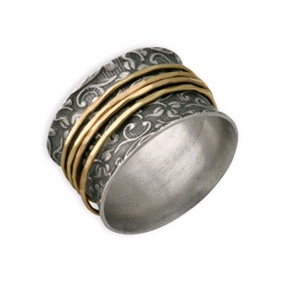Sterling Silver and 14K Gold Leaf Print Spinner Ring