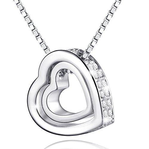 MARENJA-Cristal-Regalo-San-Valentn-Collar-para-Mujer-Doble-Corazn-Chapado-en-Oro-Blanco-y-Cristal-40-45cm