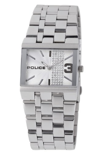 Police Glamour Sqaure Ladies stone set silver dial stainless steel bracelet watch