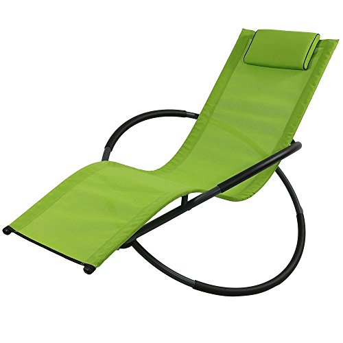 Sunnydaze Orbital Folding Zero Gravity Rocking Lounger w/ Pillow, Green