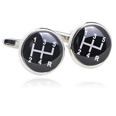 Gearbox Cufflinks(Black) 18K Platinum Plated Gift Boxed By Digabi