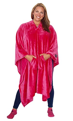 THE MOST COMFORTABLE and SOFTEST EVER!!! Original THROWBEE Blanket-Poncho PINK Wearable Throw Coat Indoors Outdoors men women kids