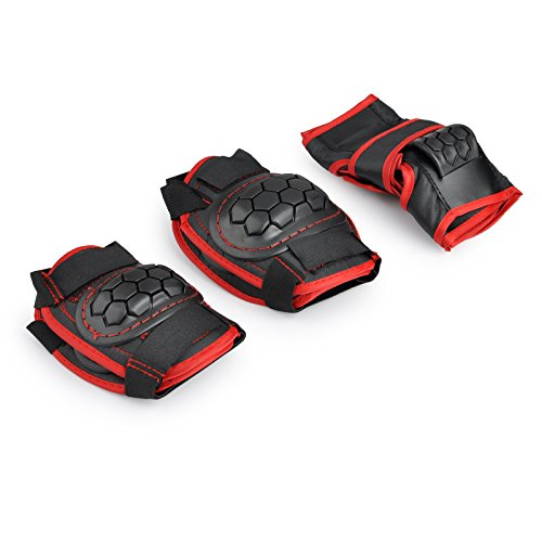 Kids Junior Roller Skating Skateboard BMX Scooter Cycling Protective Gear Pads (Knee pads+Elbow pads+wrist pads) (Black, M)